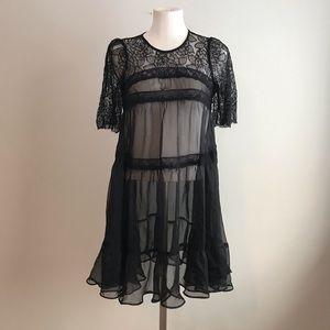 Mini see through lace dress